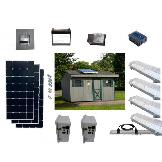 Solar Shed Lighting and Power Kit 4