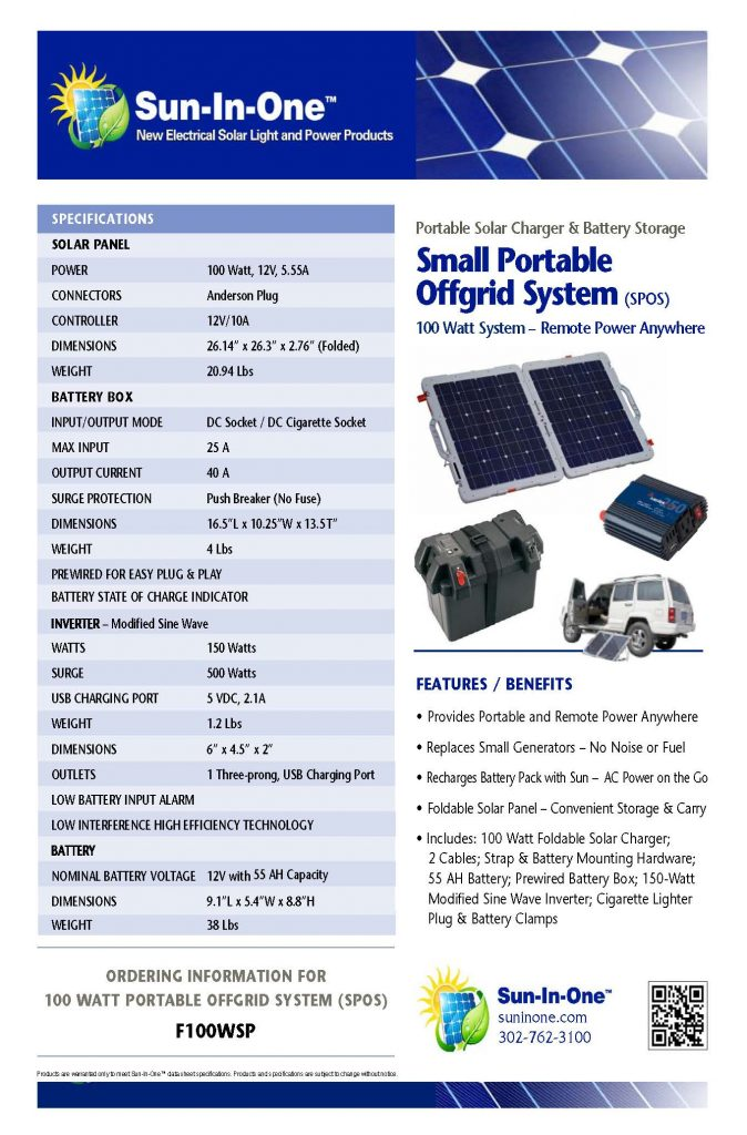 100 Watt Foldable Panel Spec Sheet